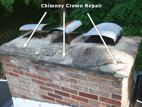 Cement Chimney Repair : Md chimney crown repair cap